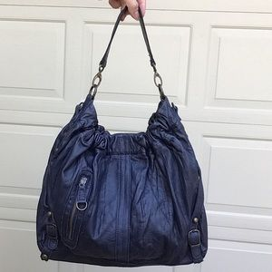 BICA CHEIA navy blue leather shoulder bag purse G1